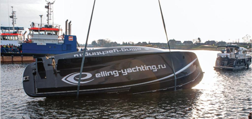 Рабочий момент теста на самовосстановление, успешно проведенного на верфи Elling Yachts (Нидерланды, 2014 г.)